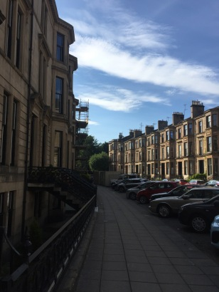 Where I am staying - an AirB&B on the left (typical Glasgow architecture, sandstone